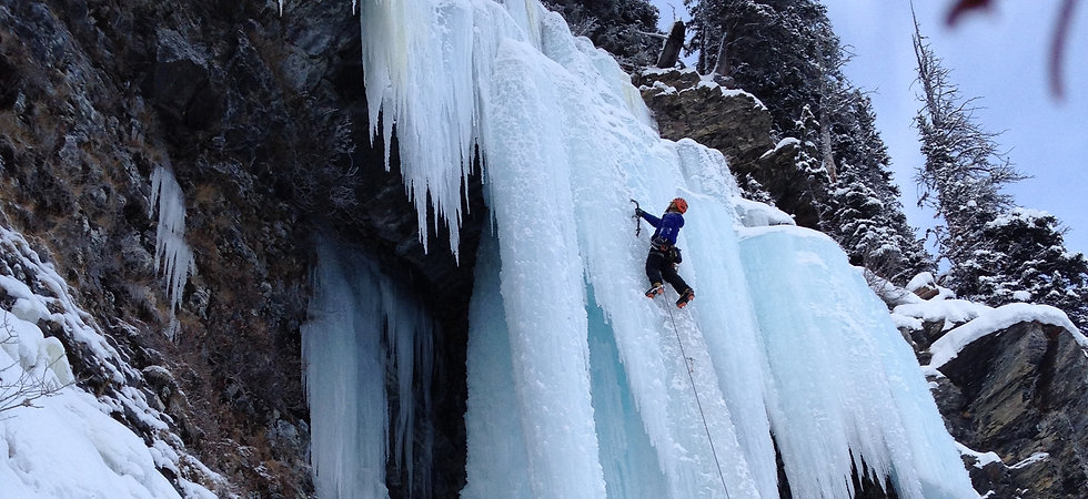 Ice climber on Louise Falls