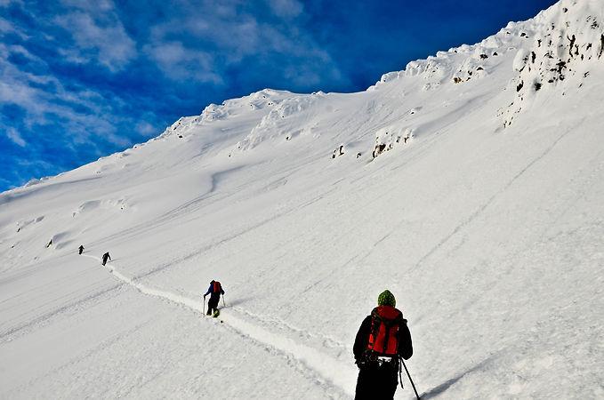 Ski touring in big terrain