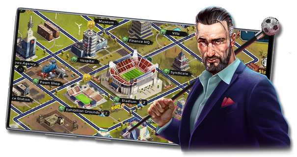 A football manager game with city builder features