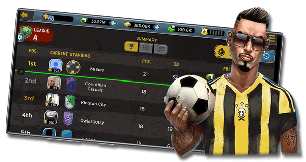 Compete against millions of real players in leagues and tournaments