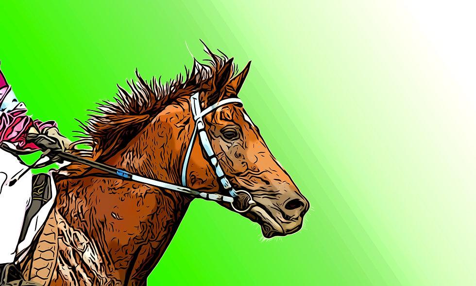 Green Bridled Race Horse Digital File