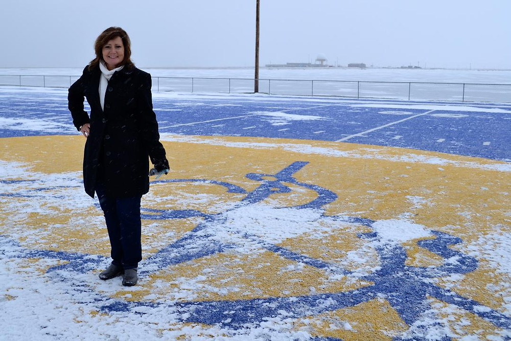 Author Cathy B Parker at Cathy Parker Field in Barrow Alaska