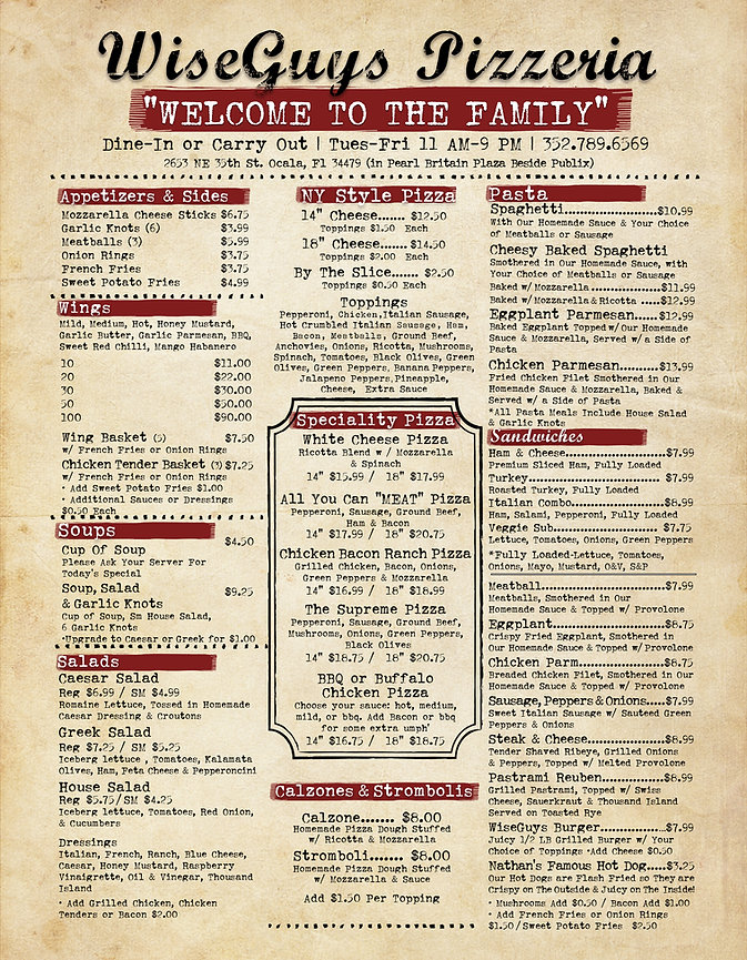 Wiseguys Pizzeria Ocala Food Menu