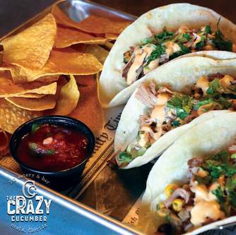 Taco tuesday and everyday at the Crazy Cucumber Eatery and Bar in Ocala Fl