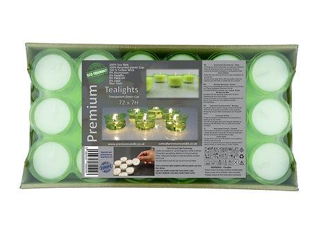 Premium Vegan Soy Wax Tea Lights 7 Hours Transparent Green Cup Pack of 72