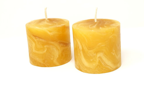 Pack of 2 100% Pure Beeswax Candles Hand Kneaded and Rolled 6 x 6 cm