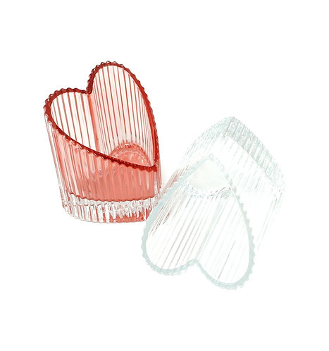 Set of 2 Luxury Tea Lights Glass Lacquer Heart Holder