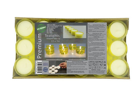 Premium Vegan Soy Wax Tea Lights 7 Hours Transparent Yellow Cup Pack of 72
