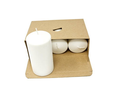 3 White Pillar Candles Unscented Natural Wax 70 mm x 130 mm Each Candle