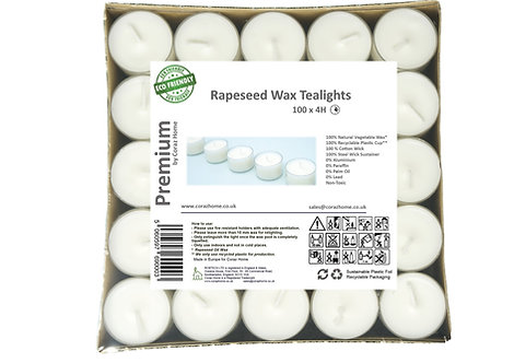 Premium Vegan Rapeseed Wax Tea Lights 4 Hours Transparent Clear Cup Pack of 100
