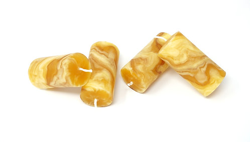Pack of 4 100% Pure Beeswax Candles Hand Kneaded and Rolled 4 x 8 cm
