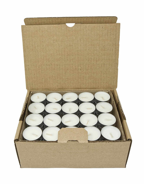 Pack of 80 Natural Tealights 100% Rapeseed Wax 6 - 7 Hours in Aluminium Cup