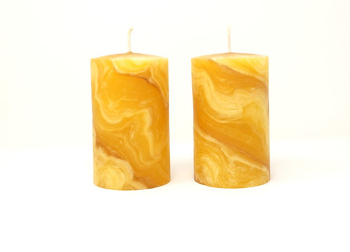 Pack of 2 100% Pure Beeswax Candles Hand Kneaded and Rolled 6 x 10 cm