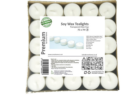 Premium Vegan Soy Wax Tea Lights 7 Hours Transparent Clear Cup Pack of 75