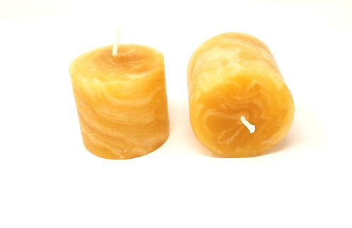 Pack of 2 100% Pure Beeswax Candles Hand Kneaded and Rolled 7 x 8 cm