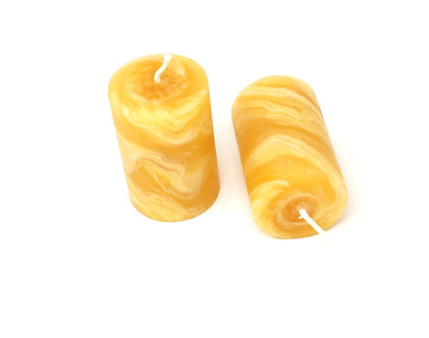 Pack of 2 100% Pure Beeswax Candles Hand Kneaded and Rolled 5 x 8 cm