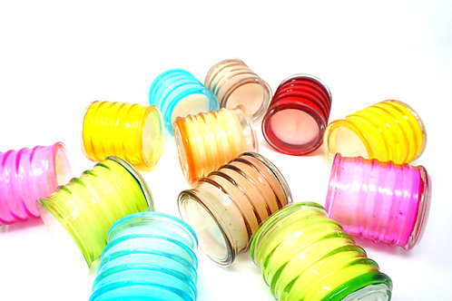 Pack of 6 Unscented Candles Multicoloured Glass Jars 18 Hours Each Candle