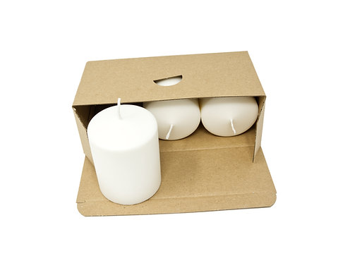 3 White Pillar Candles Unscented Natural Wax 70 mm x 90 mm Each Candle