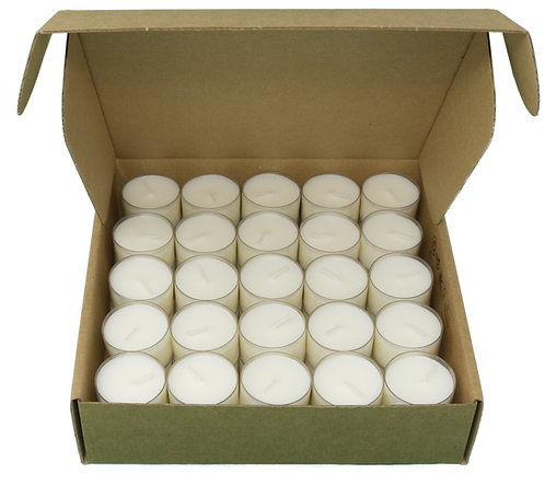 Pack of 50 Natural Tealights 100% Rapeseed Wax 8 Hours in Clear Cup in Kraft Box