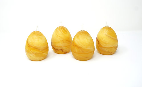 Pack of 4 100% Pure Beeswax Candles Egg Hand Kneaded and Rolled 5 x 7 cm