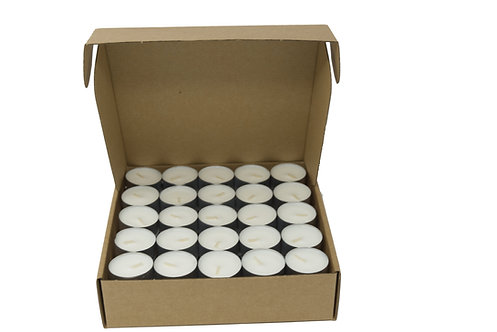 Pack of 120 Natural Tealights 100% Vegan Wax Blend 4 Hours in Aluminium Cup
