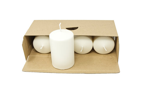 4 White Pillar Candles Unscented Natural Wax  60 mm x 90 mm Each Candle