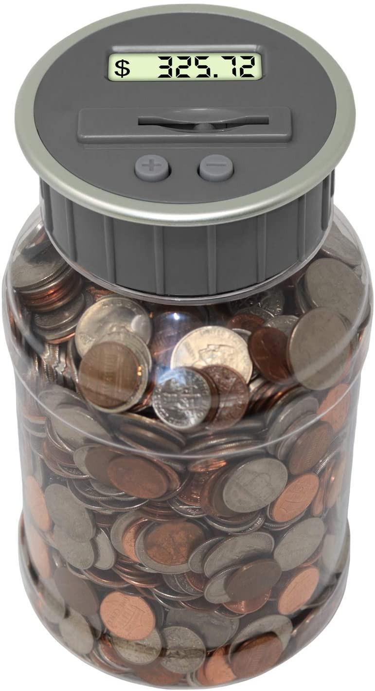 Teacher's Choice Digital Coin Bank, Savings Jar, and Piggy Bank | Automatic Coin Counter