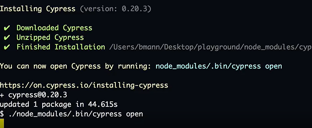 running cypress tool using a command