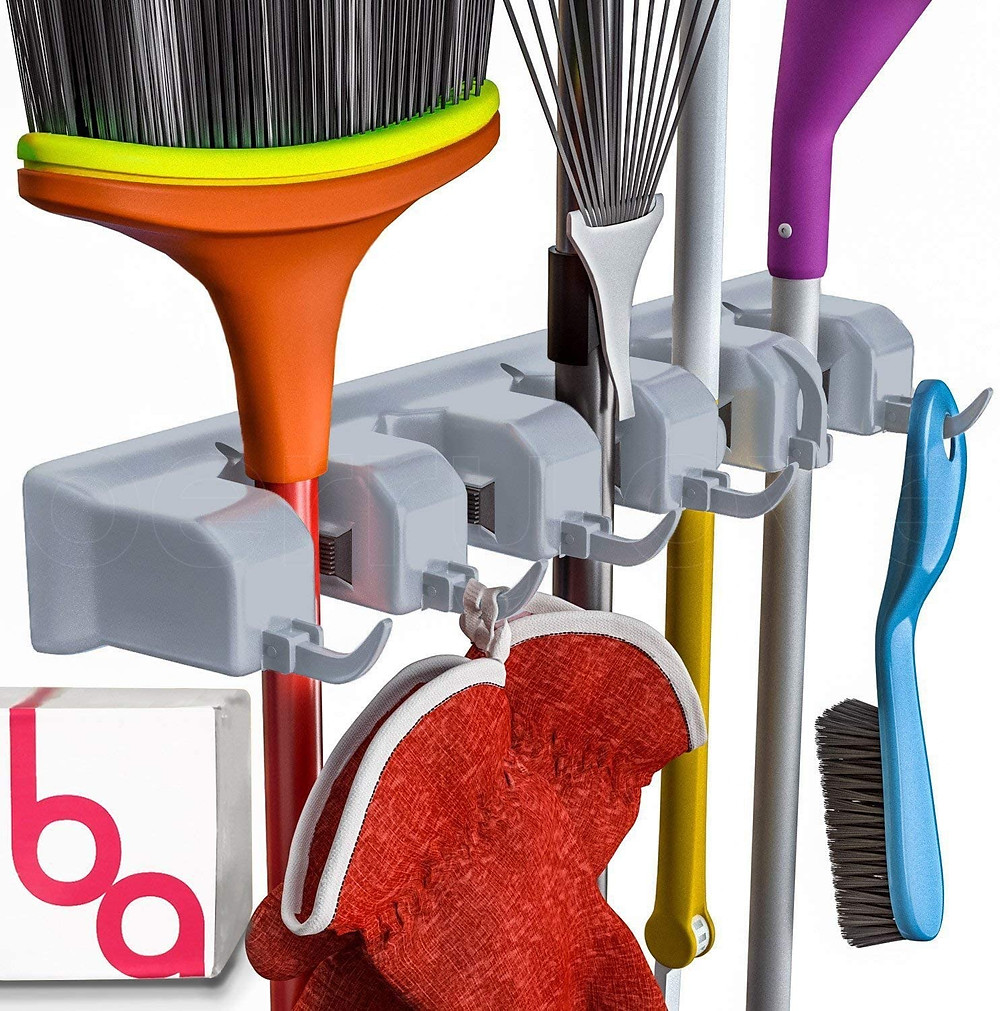 Berry Ave Broom Holder Wall Mount and Garden Tool Organizer