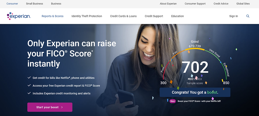 Experian Boost home page - product review