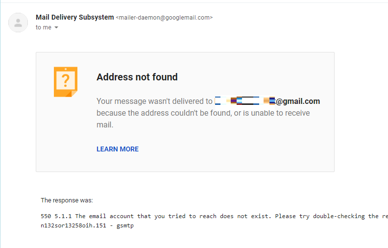 Google email - outage error