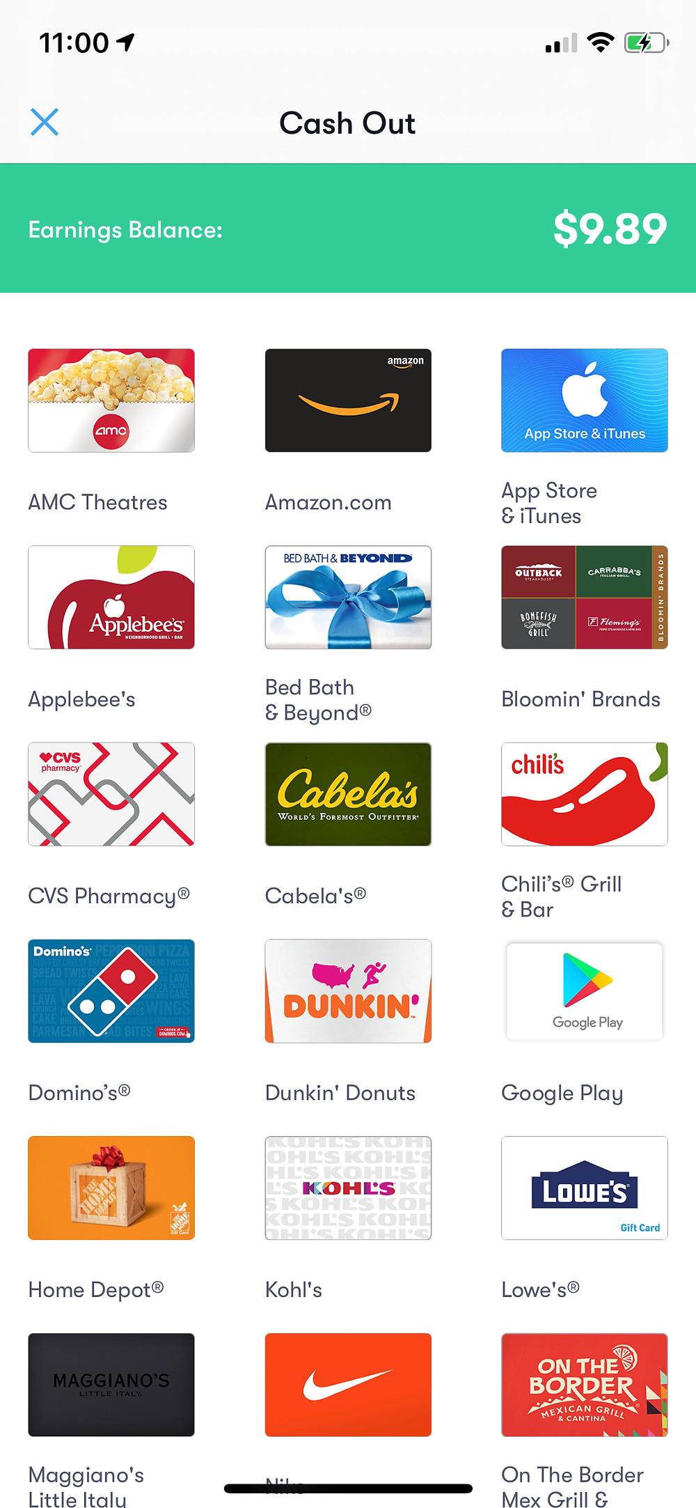 GetUpside App showing Cash out options