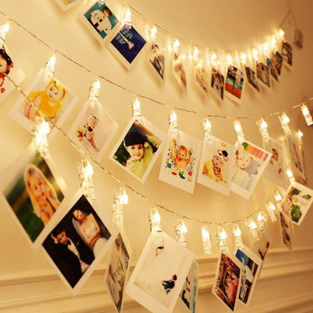 40 LEDs 20 Photo Clips String Fairy lights Battery-Powered Decoration