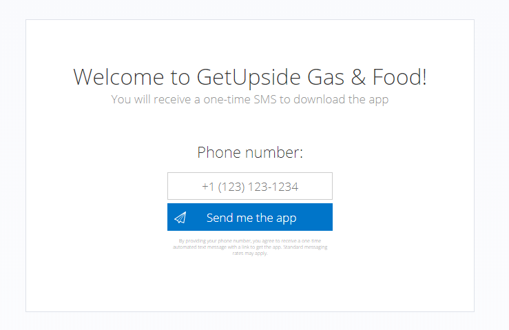 web page showing user to enter GetUpside promo code