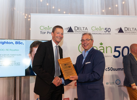 RE Royalties COO, Peter Leighton, Wins Canada's 2020 Clean50 Award