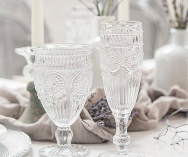 Clear Pressed Glass Champagne Flute