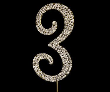Gold Diamanté Number 3 Stand
