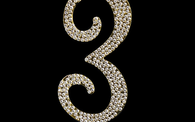 Gold Diamanté Number 3 Stand