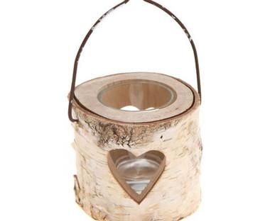 Small Bark Heart Tealight Holder