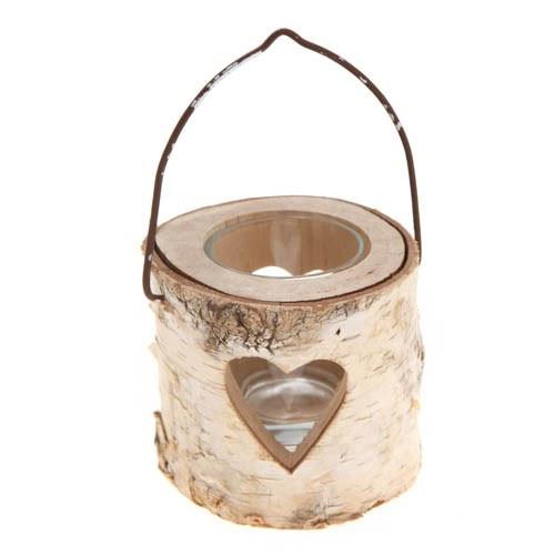 Small Heart Bark Tea Light Holder