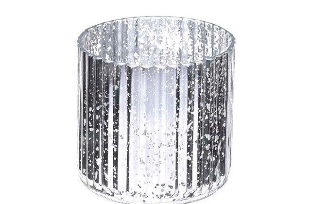 Medium Silver Mercury Ribbed Vase