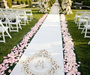 Pink Scattered Rose Petal Aisle Display