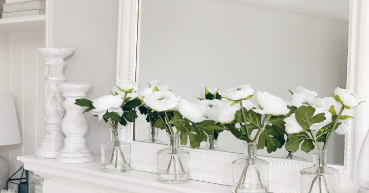 White Ranunculus in Clear Bud Vase