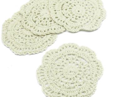 """4"""" Beige Crochet Lace Doily"""