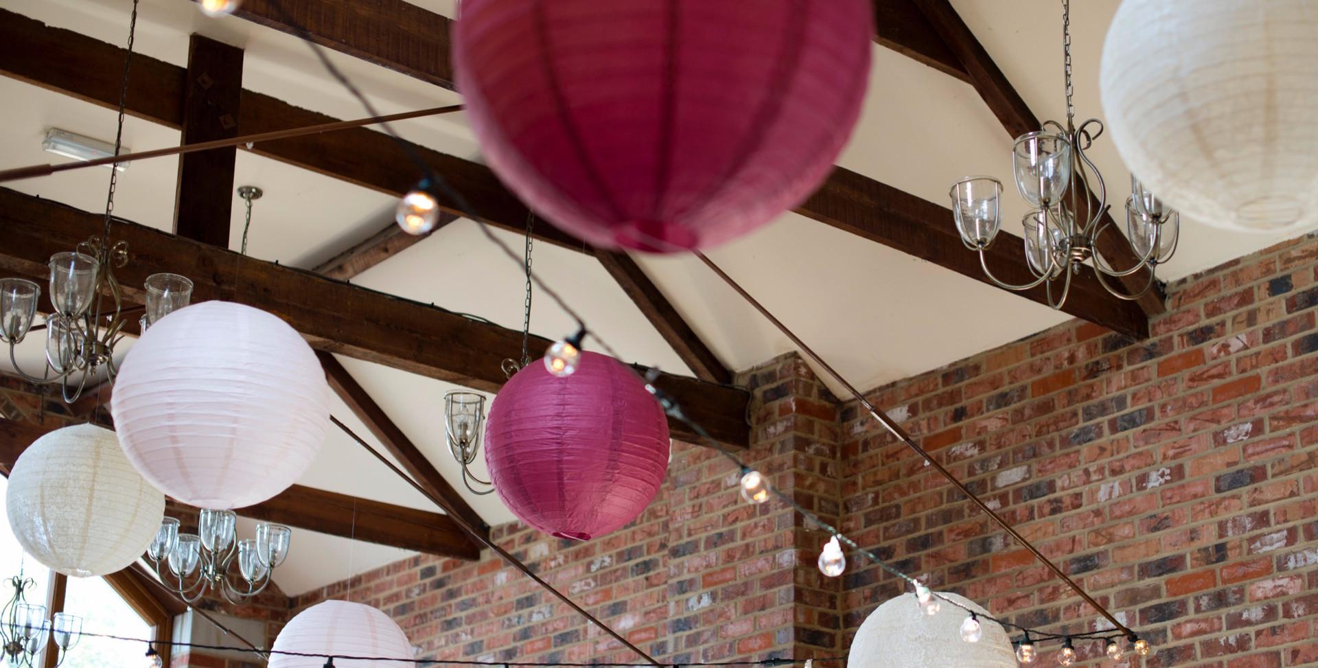 20 Inch Vintage Pink Round Paper Lanterns