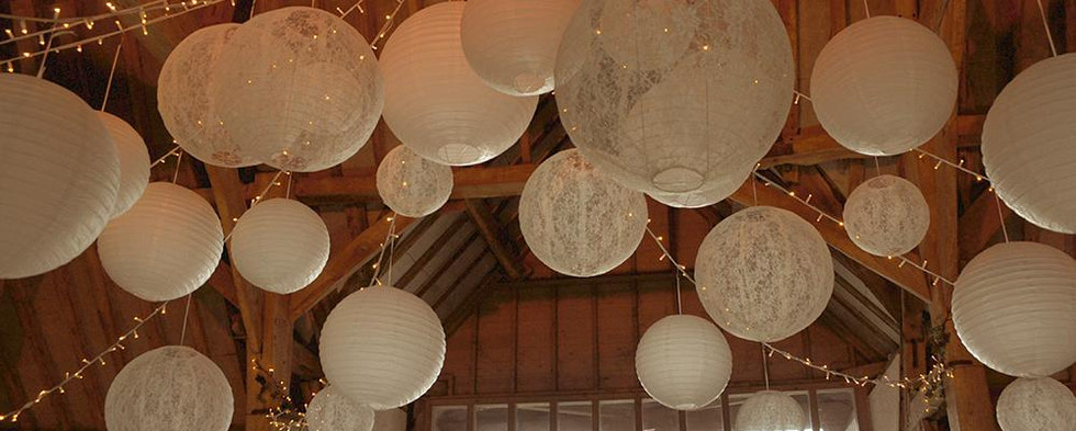 16 Inch Ivory Lace Hanging Lantern