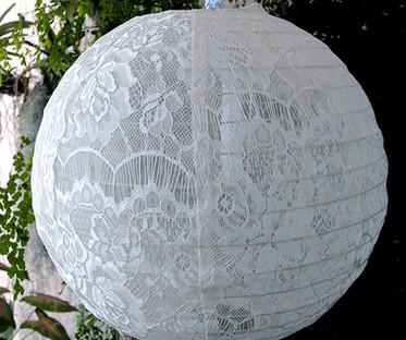 20 Inch White Lace Hanging Lanterns