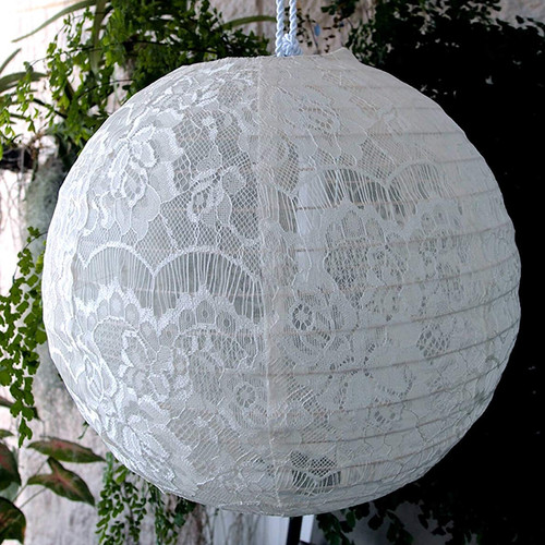 "16"" White Lace Hanging Lantern"