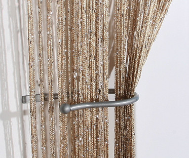 Gold Bronze Shimmer String Curtain Panel