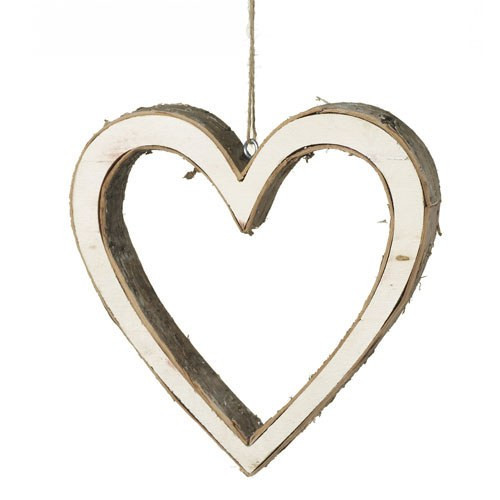Small Wooden Bark Hanging Heart Decorati